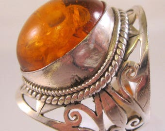 Big Amber Sterling Silver Open Work Ring Size 7.5 Vintage Jewelry Jewellery