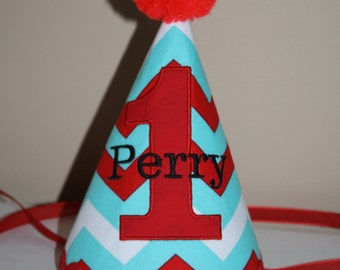 boys first birthday hat, aqua blue, red and white, boys 1st birthday hat, cake smash outfit, boys hat, personalized birthday hat