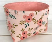 Organizer Basket Fabric Bin,Storage Bin,Nursery Decor,Fabric Basket,Flowers,Home Decor,Floral,Light Pink,Shabby Chic,Coral Pink,Blush Flower