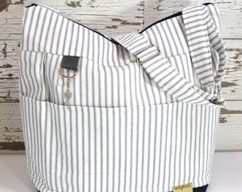 Day bag in Navy Blue & white Ticking Stripe, waterproof base -Lightweight and durable! by Darby Mack made in the USA, in stock