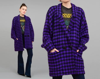 Vintage 80s Mohair Knit CHECKERED Cardigan - 1980s Oversize Jacket - Double Breasted Sweater Coat Purple Black Small Medium S M