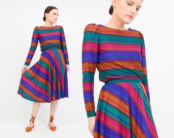 Vintage 70s Striped Dress Set 2 Piece Matching Outfit - High Waist Full Skirt - Long Sleeve Knit Top - Jewel Tones - Extra Small XS
