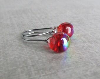 Small Dichroic Red Earrings, Fire Red Dangles, Lampwork Earrings, Small Dangle Earrings, Oxidized Small Earrings, Sterling Silver Earrings