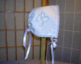 Baby Bonnet Brides Wedding Handkerchief Handmade Keepsake Heirloom (Heart Font)