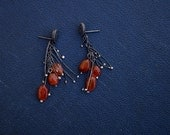 COUPON IN SHOP - Spores - Sterling Silver - Natural Carnelian - Carnelian Chunks - Organic Shapes - Organic Earrings - Orange Stones - Boho