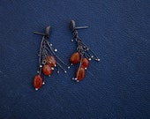 Spores - Sterling Silver - Natural Carnelian - Carnelian Chunks - Organic Shapes - Organic Earrings - Orange Stones - Boho