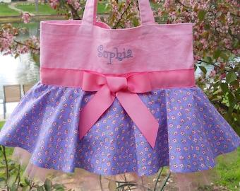 Ballerina tote bag, Embroidered Dance Bag, Naptime 21, MINI Pink tote bag, Embroidered tote bag, dance bags, princess tote bag, MSTB596 A