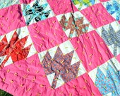 Vintage 1960s Patchwork Pink Floral Quilt