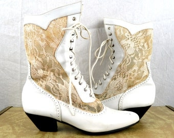 Vintage White Lace Heel Classic 80s Party Booties Shoes - Rocker Wedding - 7 1/2