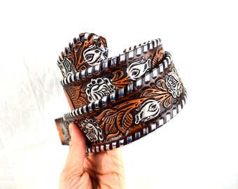 "Vintage Hand Laced Top Grain Tooled Leather Floral Belt - Size 32 - ""Lu Cile"""