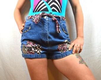 Vintage 90s Floral Patchwork High Waisted Denim Shorts