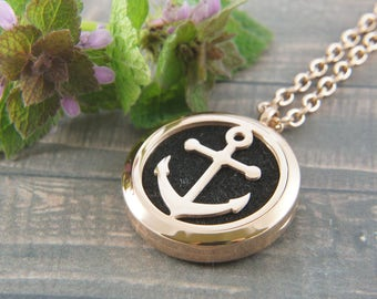 Rose gold plated 316 stainless steel essential oil diffuser locket necklace, anchor, 12 felt pads, wedding, bridesmaids, mother's day, layer