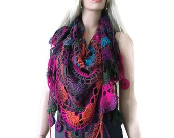 Bohemian crochet scarf- Passionata-Super lacy multicolor Crochet lace scarf with fringes-Silk and mohair-Handmade