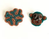 Monkey Brooch/Fiber Brooches/Recycled Art Brooches