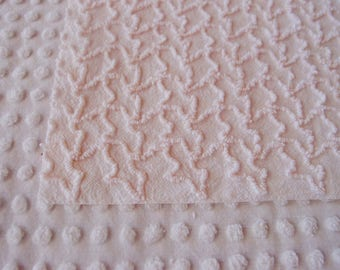 "Vintage Chenille Fabric - Cabin Crafts very pale pink squiggles - 24"" x 24"" - 400-177"