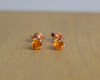 Stud Earrings, Rose Gold Earrings, Gold Stud Earrings, Mandarin Garnet Studs, Orange Stud Earrings, Spessartite Posts, 4mm Stud, Low Profile