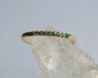 Eternity Band, Garnet Ring, Yellow Gold Eternity Band, Green Garnet Eternity Ring, Pave Setting, Color Change Garnet Ring