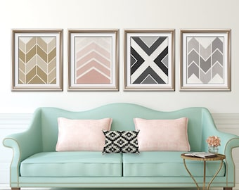 Mid Century Geometric Chevron Patterns - Set of 4 Art Prints (Featured in Distressed Latte, Blush, Black, Dolphin Grey)