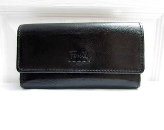 Vintage Fossil Black Pebbled Leather Tri Fold Wallet Clutch - checkbook currency ids credit cards coin slots