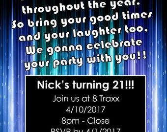 "Party Time 5""x7"" Custom Party Invitation Digital Printable"