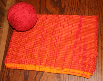 Orange and Red Handwoven Towel - Hand Woven Kitchen Towel in Red and Orange - Red and Orange Cotton Hand Towel