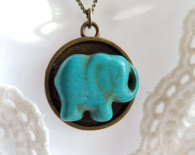Elephant pendant, brass pendant, turquoise elephant pendant, elephant jewelry, gift for her, elephant necklace, elephant charm, boho pendant