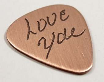Copper guitar Pick, Handwriting, Personalized gift for him, Memorial accessory, Custom Guitar Pick, In memory of, Father's Day gift