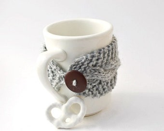 Gray cup cozy cable knit mug cosy grey brown button Christmas gift for friend hand knit reusable cup cozy