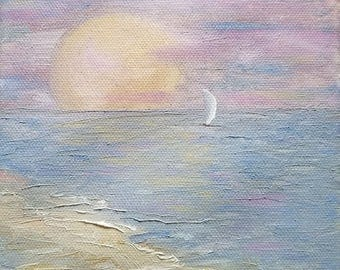 sunset sunrise oil painting seascape sailboat boat shore beach sand sea ocean moon sun landscape clouds sky sail art 6x6 - Lingering Freedom