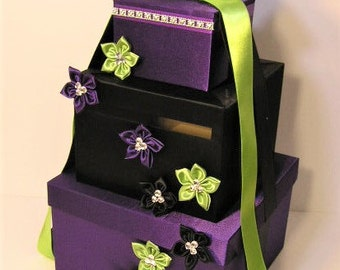 Wedding Card Box Purple / Black and Lime Green Gift Card Box Money Box Holder--Customize your color