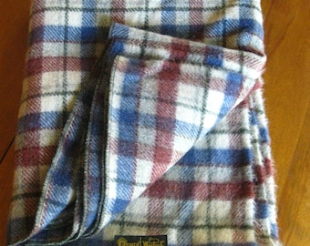 Vintage Woolrich Blanket, Mid Century Red and Blue Plaid Wool Throw Pearce Made in USA tag Dry Clean