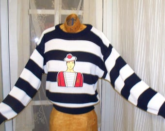 1980s french sailor striped pullover sweater