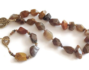 Agate and Jasper Organic Classic Set Necklace and Bracelet