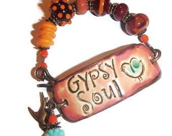 Gypsy Soul Boho Ceramic Bracelet Ceramic Bar Lampwork Beaded Bracelet Bohemian