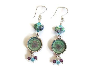 Lampwork and Crystal Earrings Purple and Aqua Reacitve Paint Boho hippie