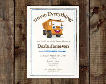 Printable Dumptruck Baby Shower Invitation Birthday Party Custom Colors Construction Masculine