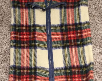 Vintage marshall field plaid tartan wool blanket baby stroller pram