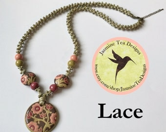 Lace Necklace, Vintage Rose and Antique Pink with Stem Green Floral Pendant and Accent Beads, Flax Braid With Hybrid Toho Seed Beads