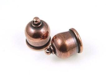 Antique Copper 8mm Taj End Caps Set, 2 Pieces, Tierra Cast Pagoda End Caps, 8mm Antique Copper Cord Ends