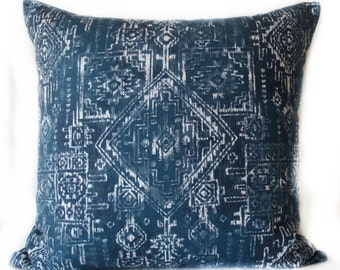 Pillow Cover - Boho chic - Tribal - Sioux - Navy - Blue - Decorative - Pillow Case