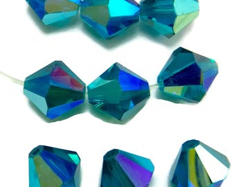 6 pcs 10mm Blue Zircon AB Article 5301 Blue Crystal Beads Bicone  5328 Faceted B-246