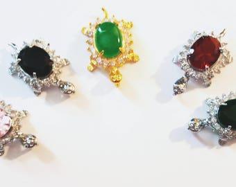 Turtle Pendants, Jade - Pink - Dark Green & Red Crystal Pendant, Sea Turtle Awareness Pendant,Sterling Silver Chain,The Pendant Man,No Black