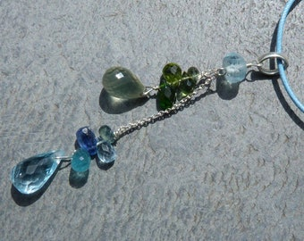 Silver pendant with prescious stones: IMPORTANT, French vat is included, 20% off for US,australian and canadian buyers