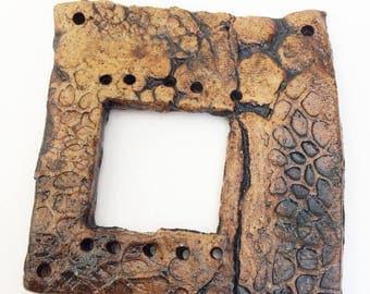 Pottery for Weaving Window rectangular loom style, Rough Skin, Hide, Leather Pattern, Black, Brown, Sake Skin