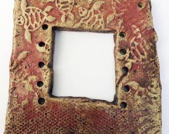 Pottery for Weaving Window rectangular loom style, Dark Red, Sea Turtles