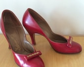 RESERVED NEIL 1940s Red Heels Sz 7 Narrow