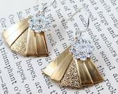 Art Deco Triangle Earrings, Fan Earrings, Gold Triangle Earrings, Silver Flower Earrings, Silver and Gold Jewelry, Christmas Gift