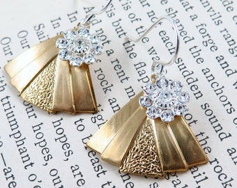 Art Deco Triangle Earrings, Fan Earrings, Gold Triangle Earrings, Silver Flower Earrings, Silver and Gold Jewelry, Christmas Gift