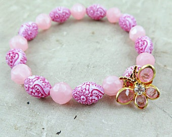 Crystal Butterfly Bracelet, Pink Beaded Bracelet, Pink Bracelet, Vintage Beaded Bracelet, Stacking Bracelet, Gift for Teen