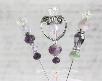 Pretty Purple Stick Pins Scrapbooking , Cardmaking, Tag Art, Mini Album, Little Scrap Shop